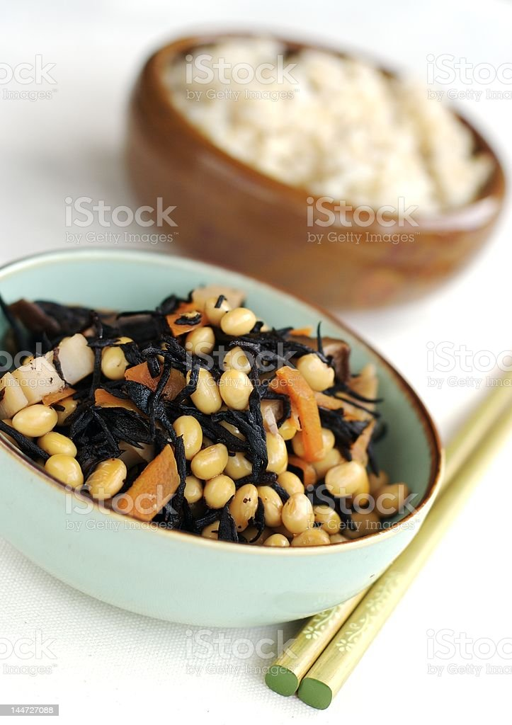 Soy beans and seaweed royalty-free stock photo