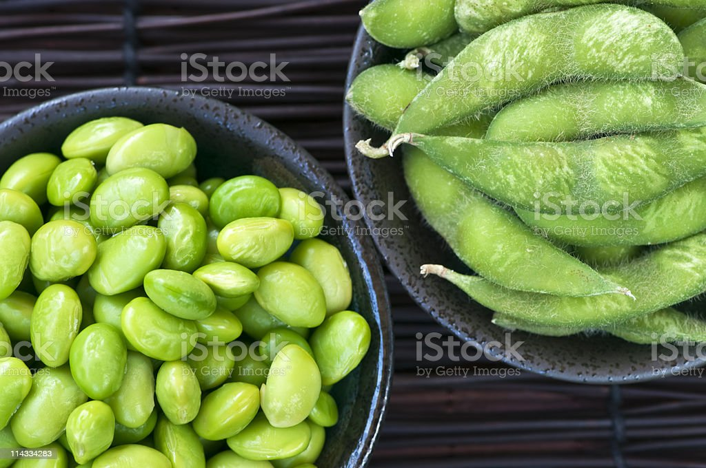 Soy beans in bowls stock photo