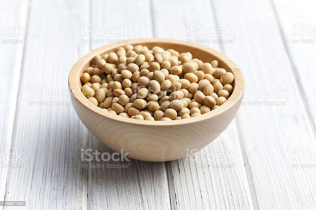 soy beans in wooden bowl royalty-free stock photo