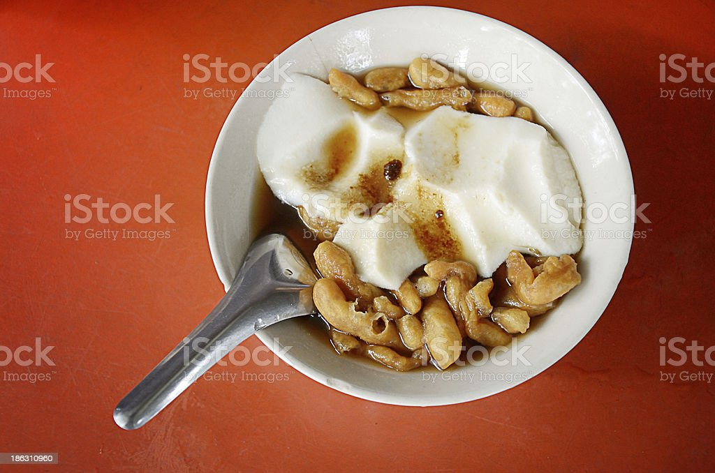 Soy custard in ginger syrup, Chinese dessert royalty-free stock photo