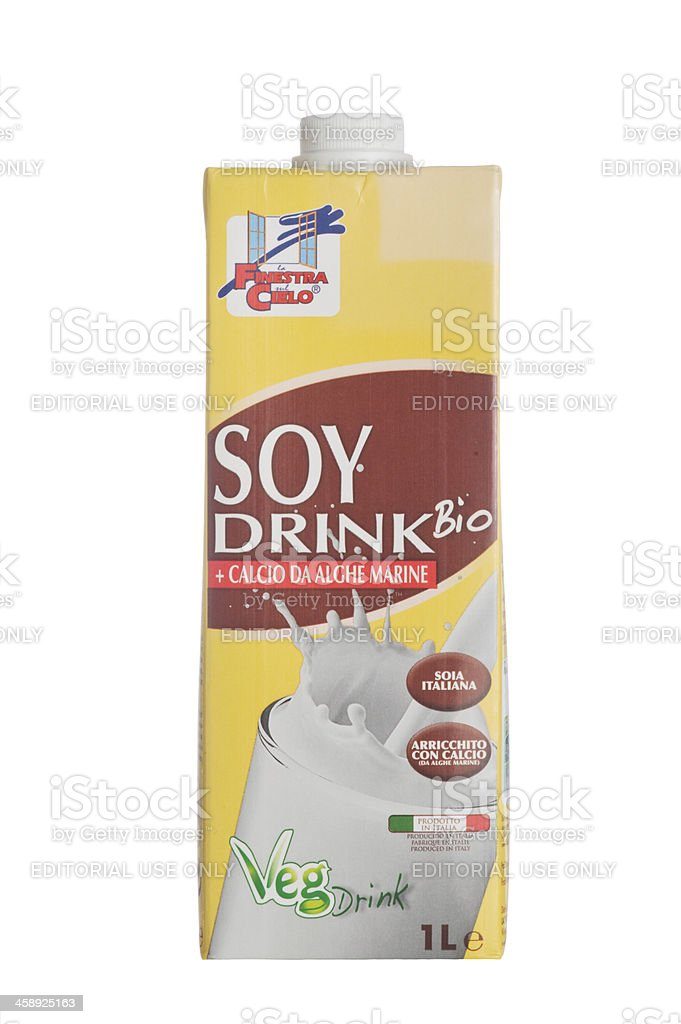 Soy drink container isolated on white royalty-free stock photo