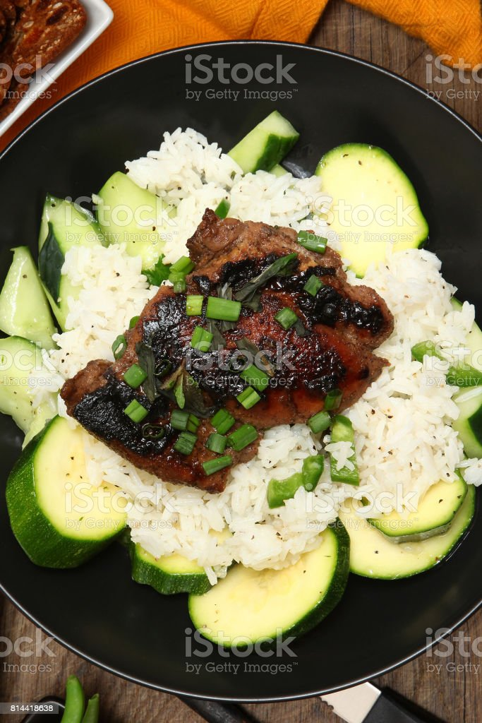 Soy Marinated Chicken Thighs stock photo