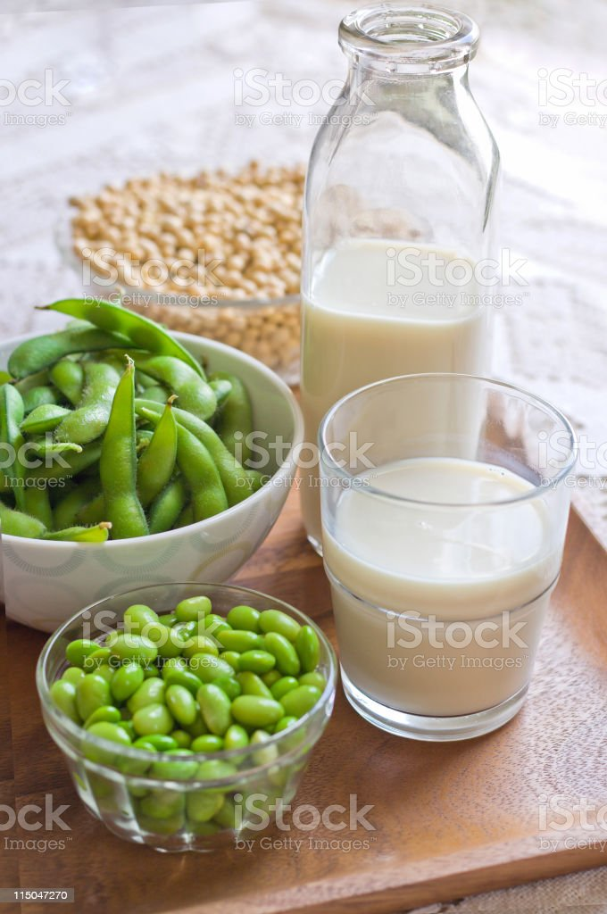 Soy Milk Concept Image with Milk, Fresh and Dry Soybeans stock photo