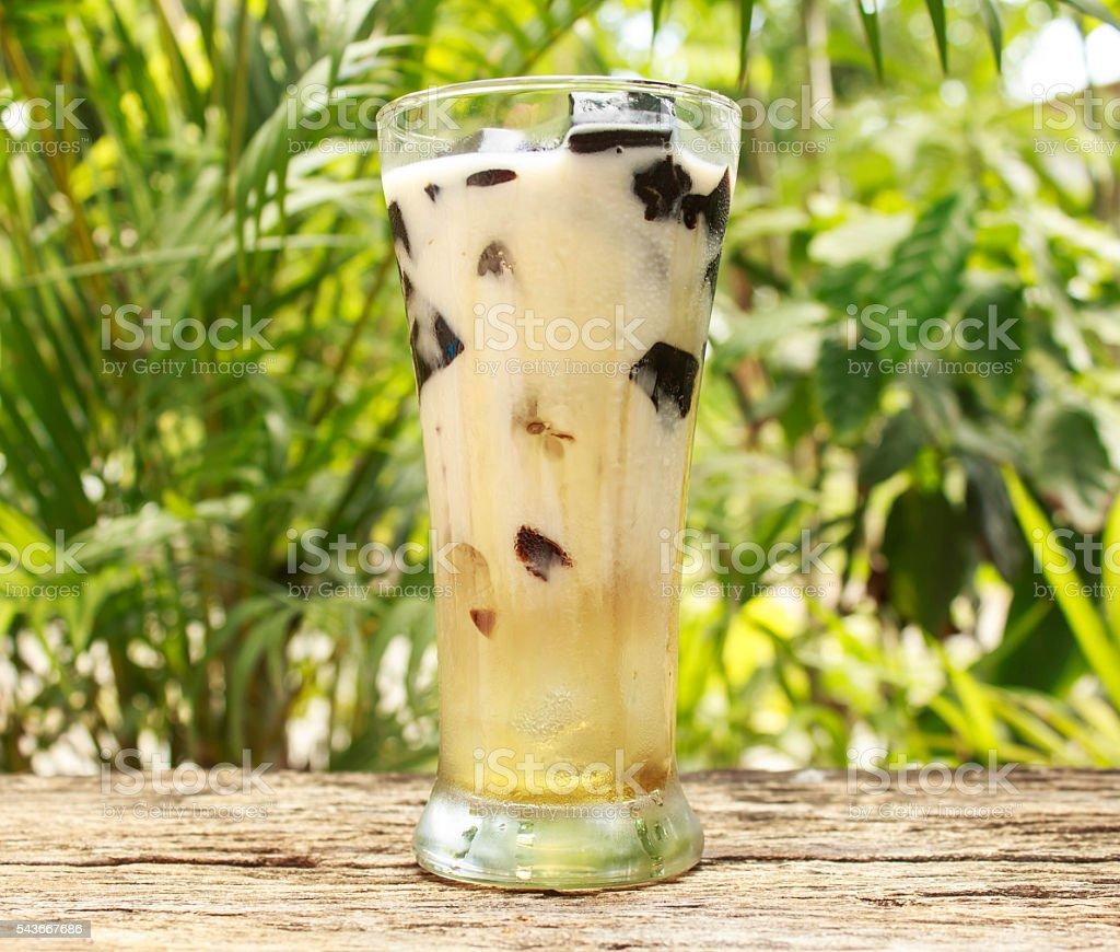 Soy milk grass Jelly stock photo