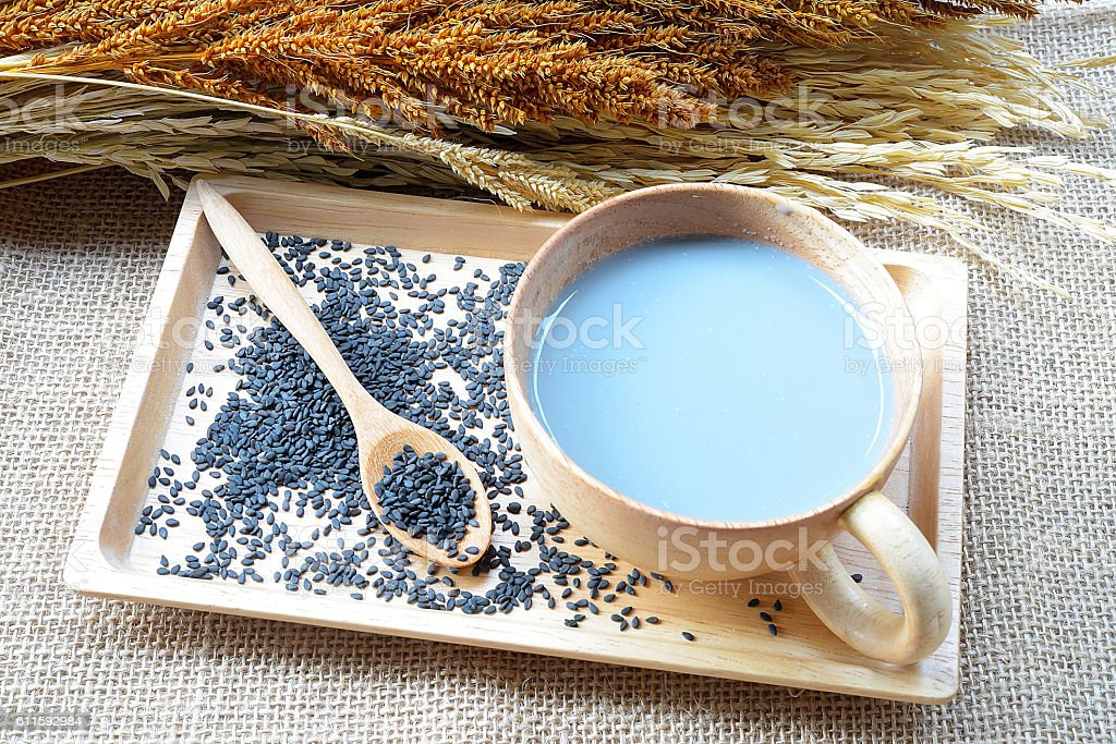 Soy milk mix black sesame with soybean seed and black sesame stock photo