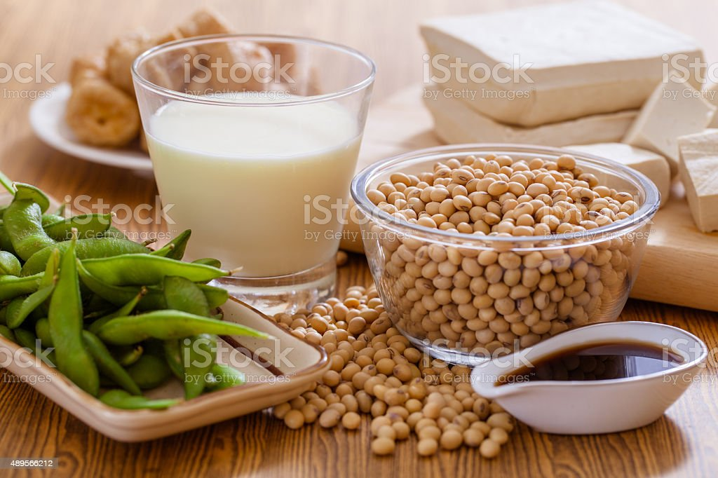 Soy products stock photo