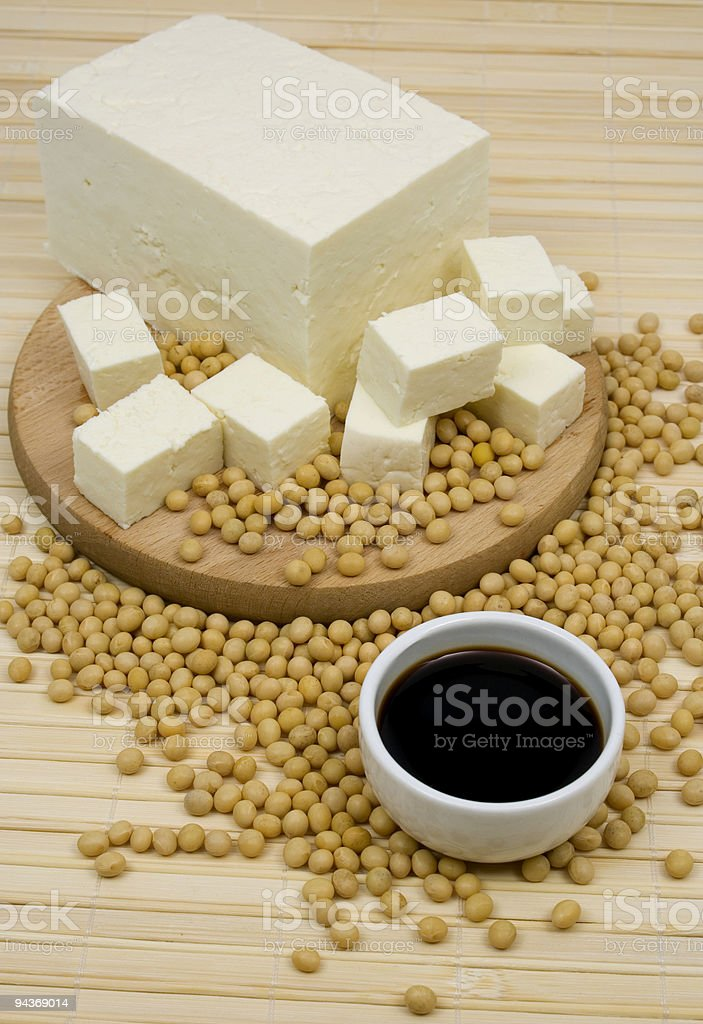 Soy sauce and tofu royalty-free stock photo