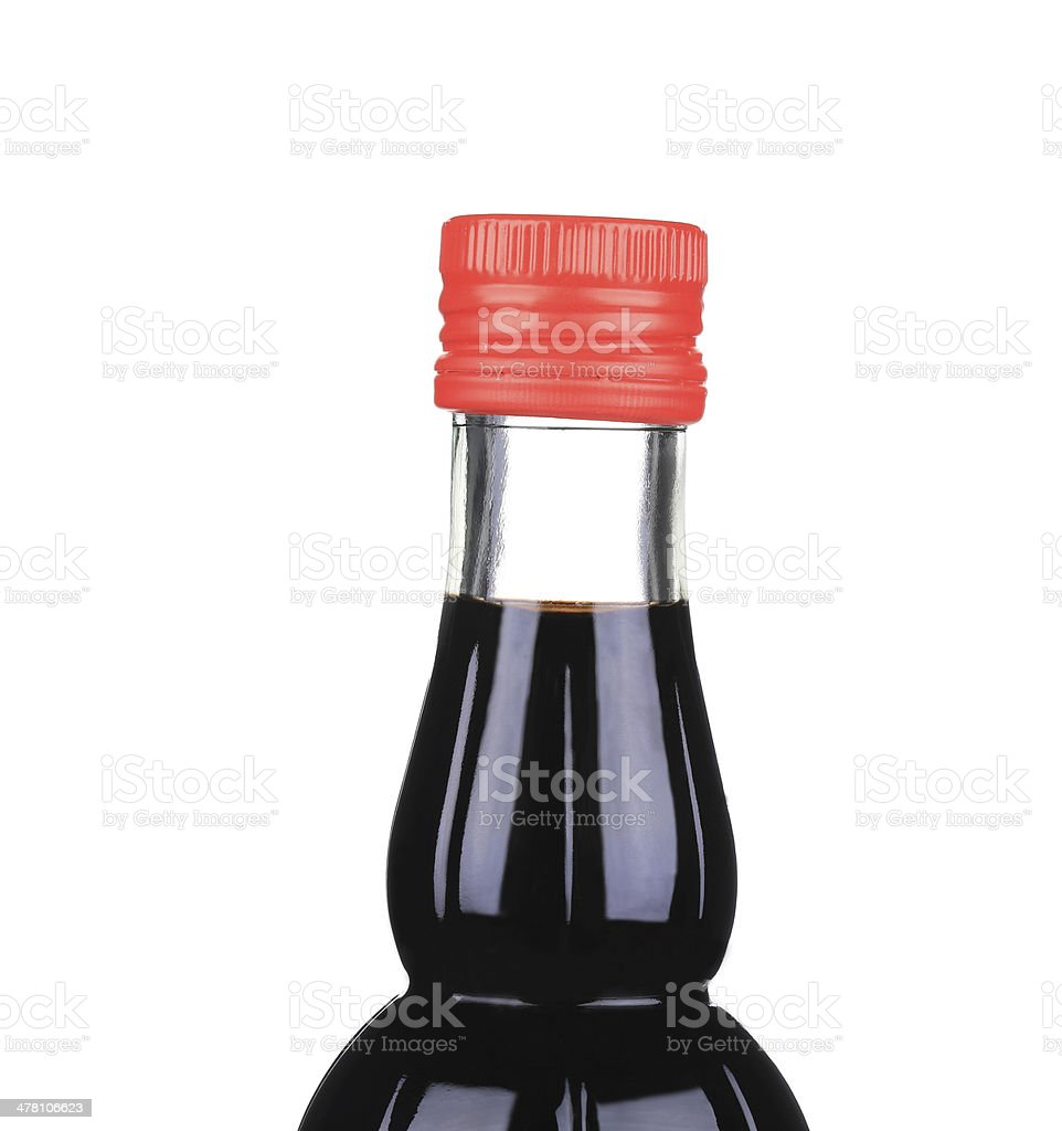 Soy sauce in a glass jar. royalty-free stock photo