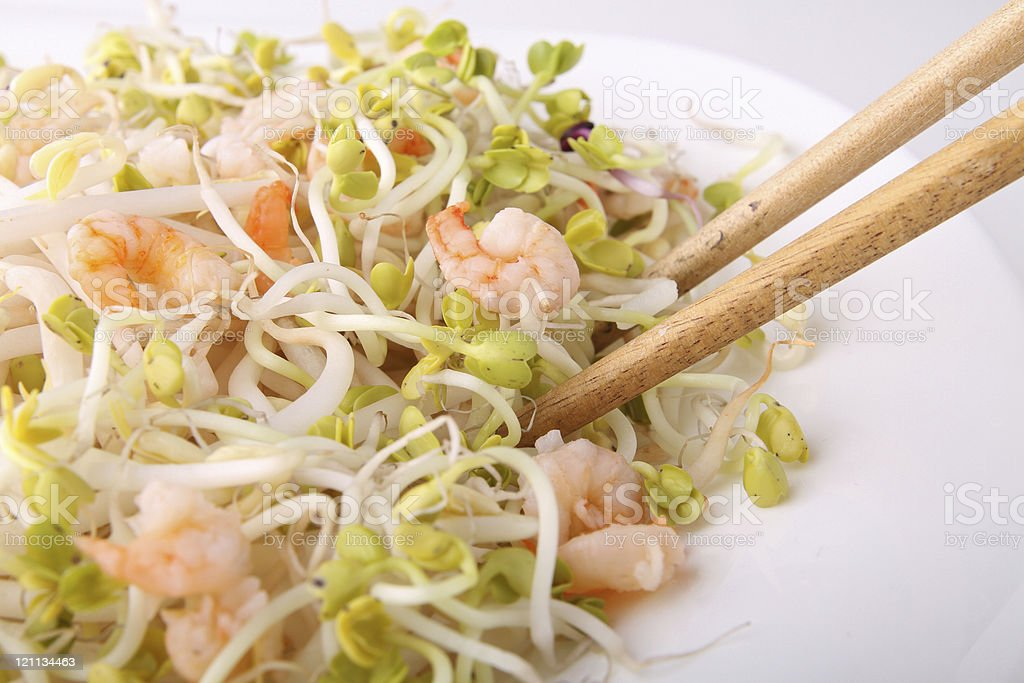 soya bean sprout and shrimp royalty-free stock photo