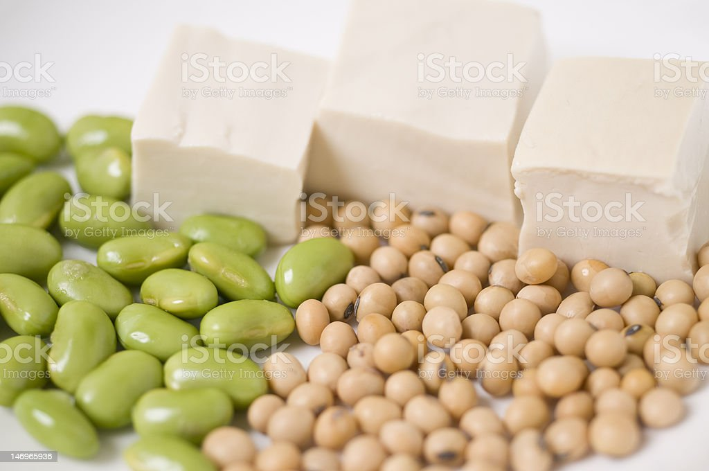 Soya Beans, Green Young Soybeansand Tofu royalty-free stock photo