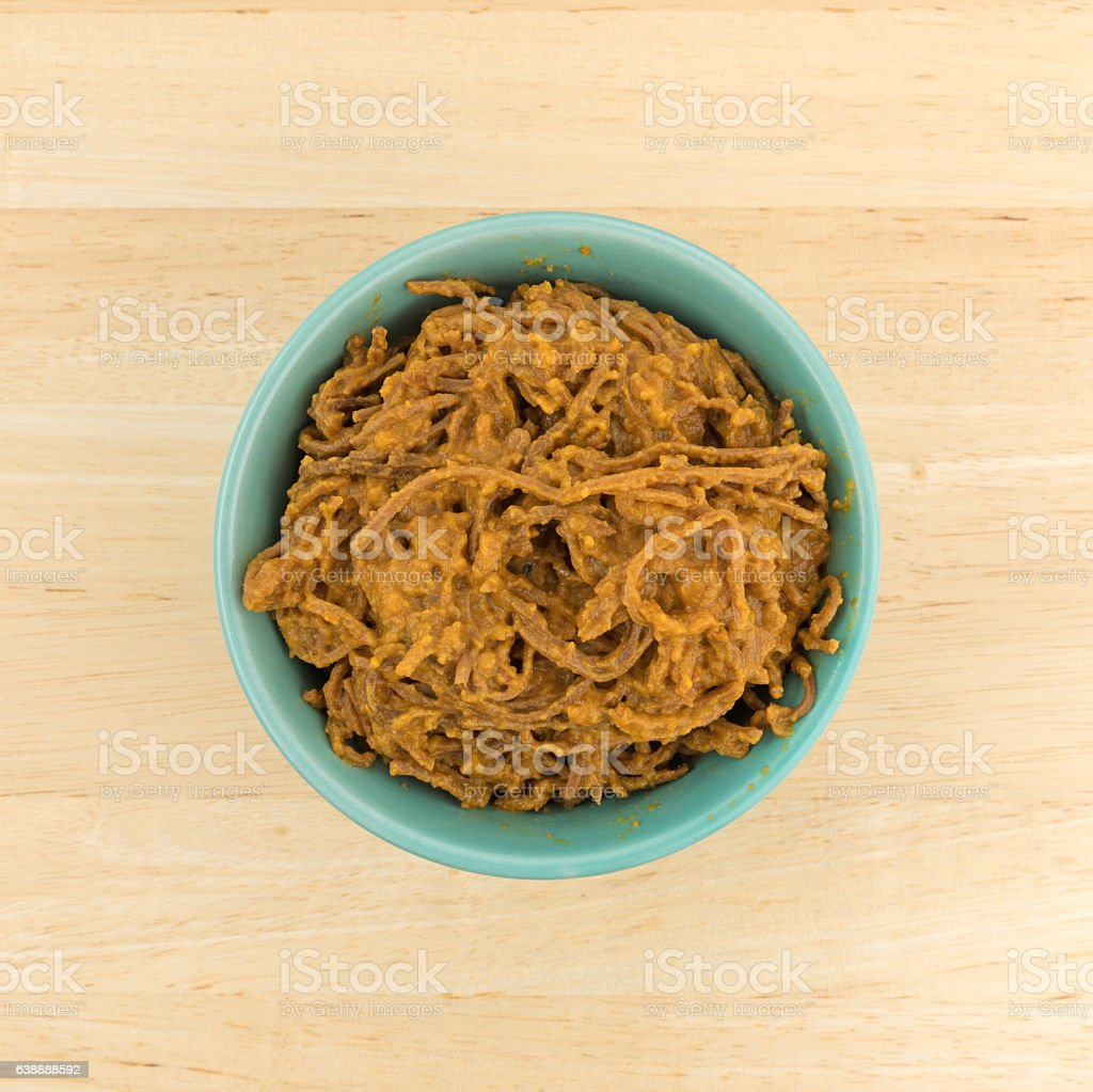 Soybean spaghetti with tomato sauce in a bowl stock photo