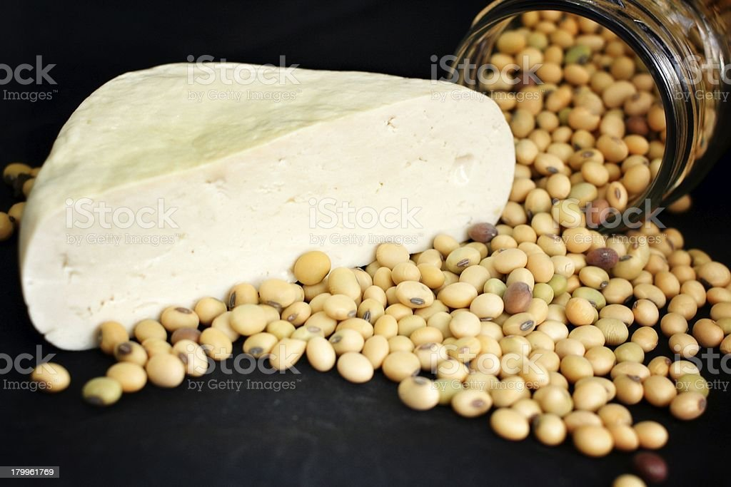 Soybeans and tofu royalty-free stock photo