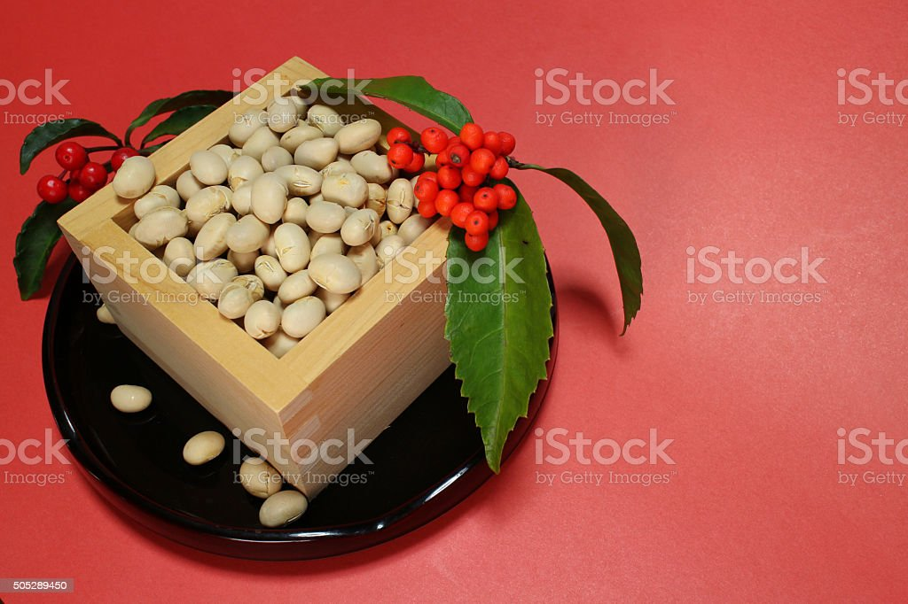 soybeans of the Japanese setsubun festival stock photo