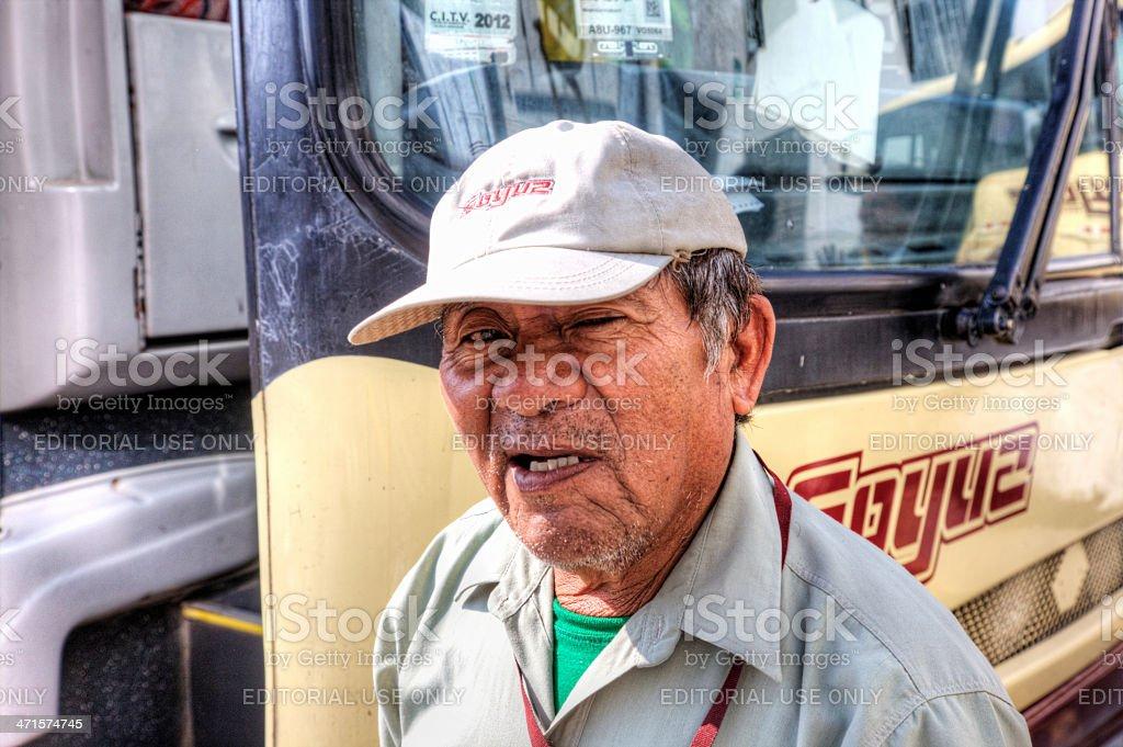 Soyuz Coaches employee at Ica bus station royalty-free stock photo