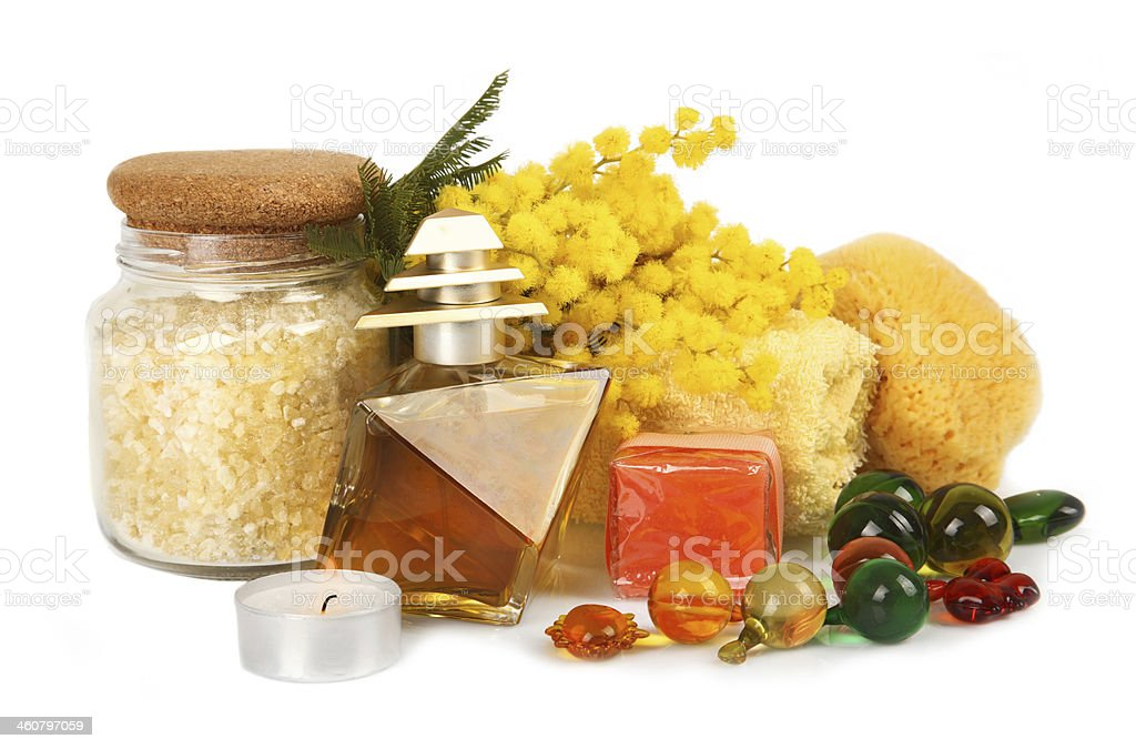 Spa accessories with mimosa flowers royalty-free stock photo