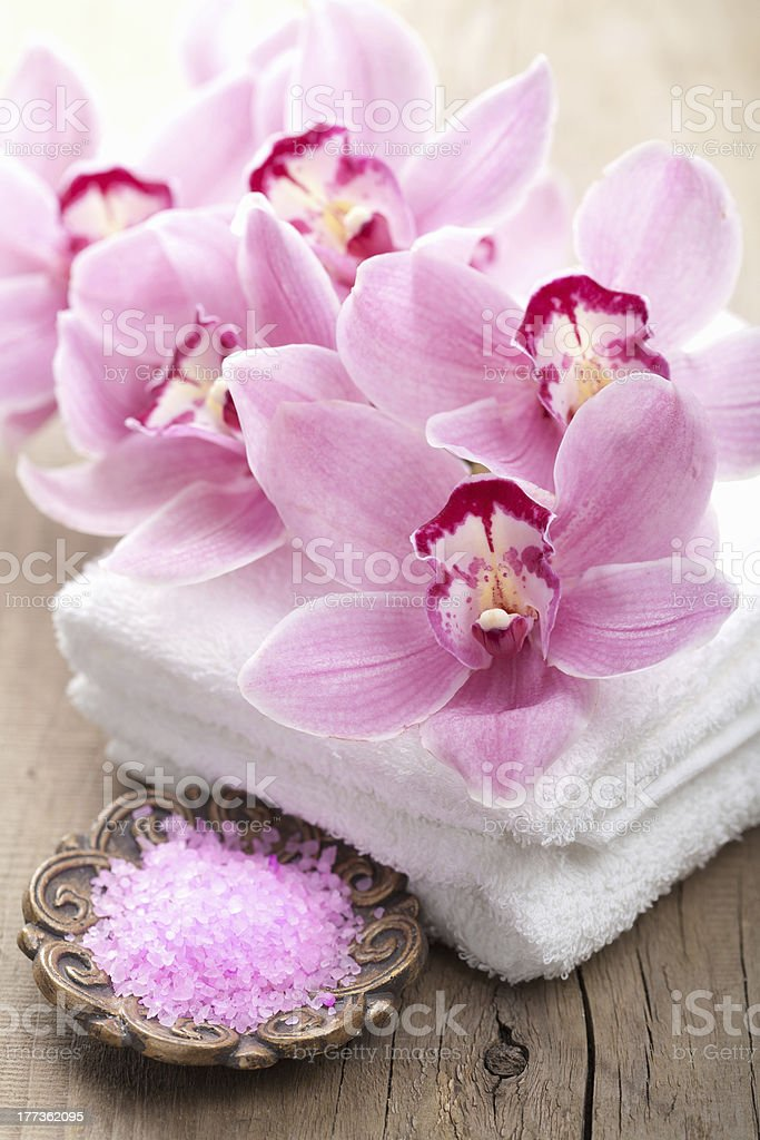 spa and bath with orchids royalty-free stock photo