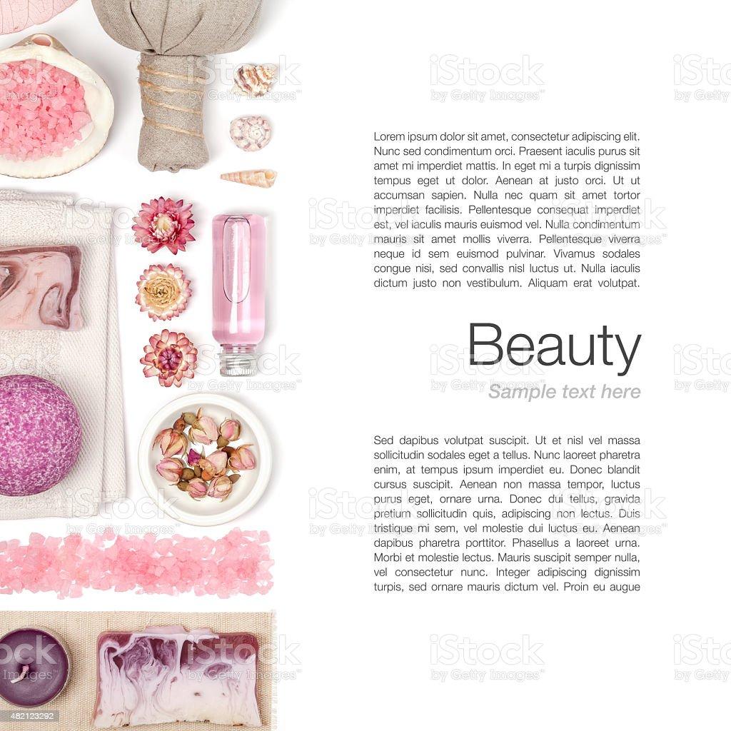spa and massage elements on white background stock photo