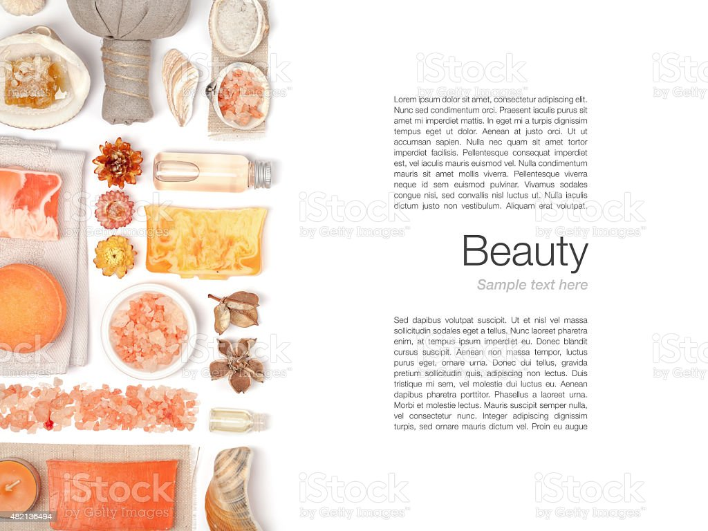 spa and massage elements on white background stock photo