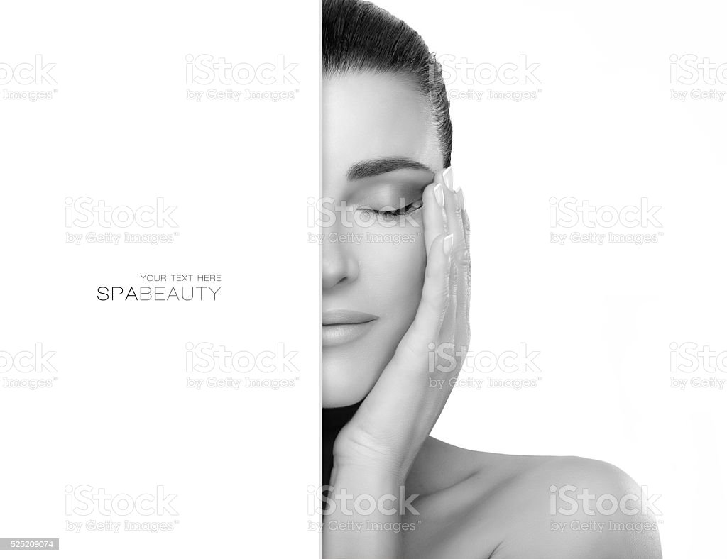 Spa and Skincare Concept. Natural Young Woman Face stock photo