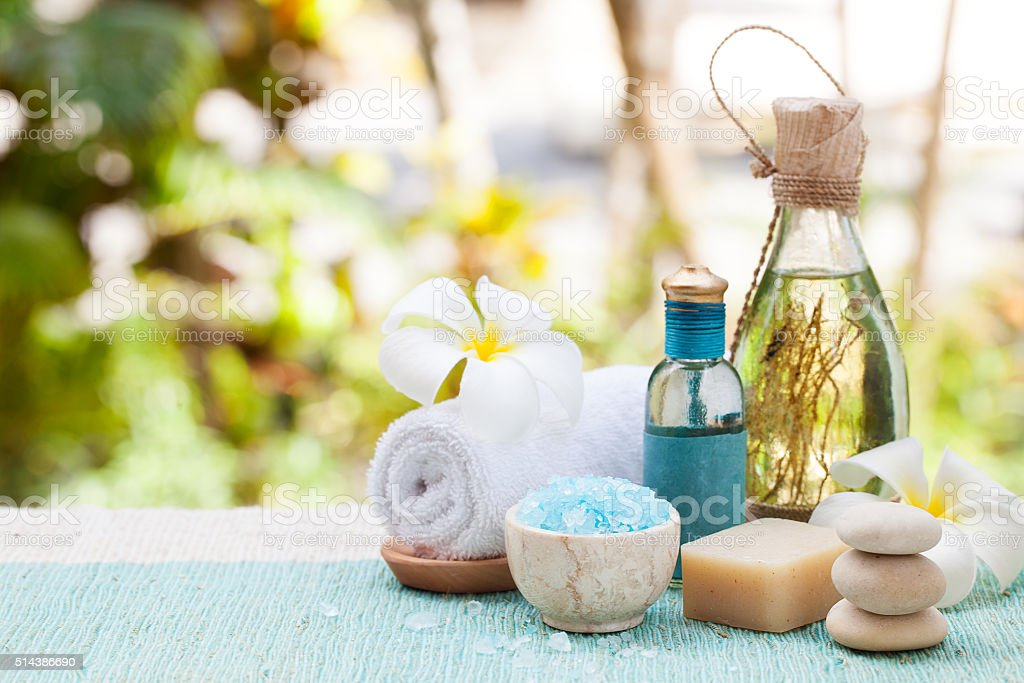 Spa and wellness massage setting Still life with essential oil stock photo