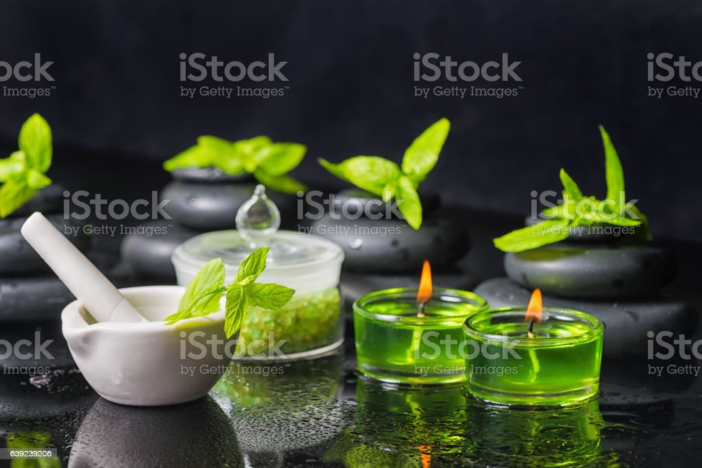 spa background of pyramid zen basalt stones with water drops stock photo