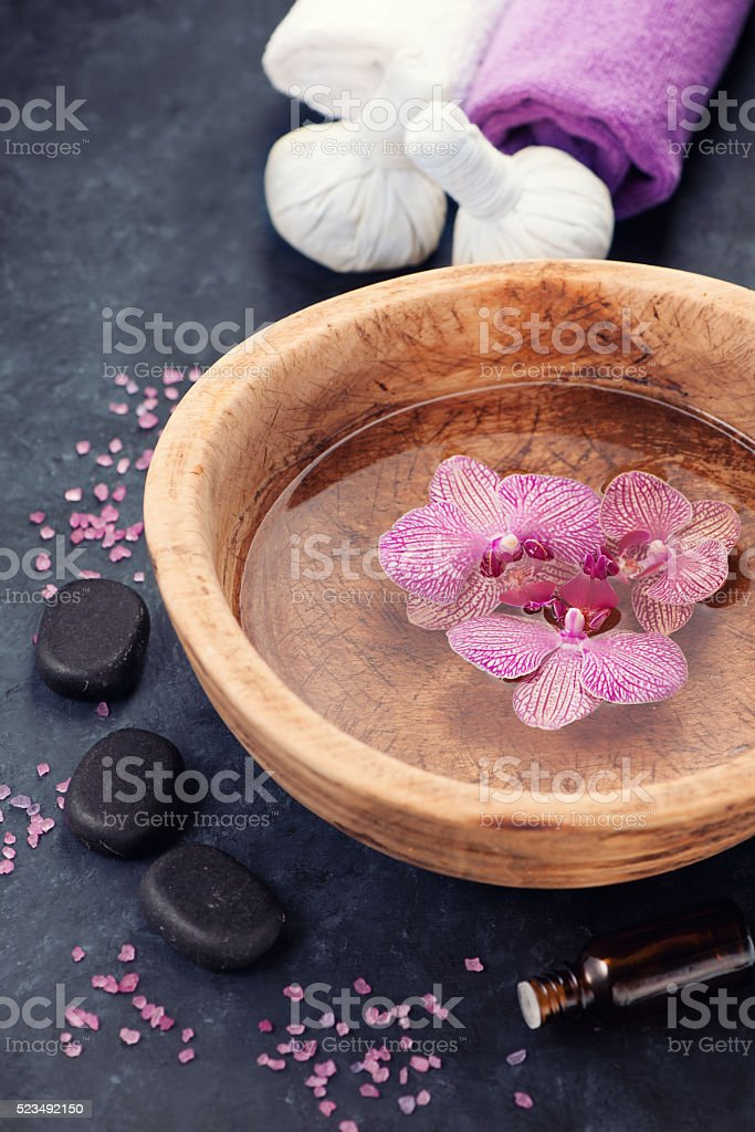 Spa background with orchids  and stones zen stock photo