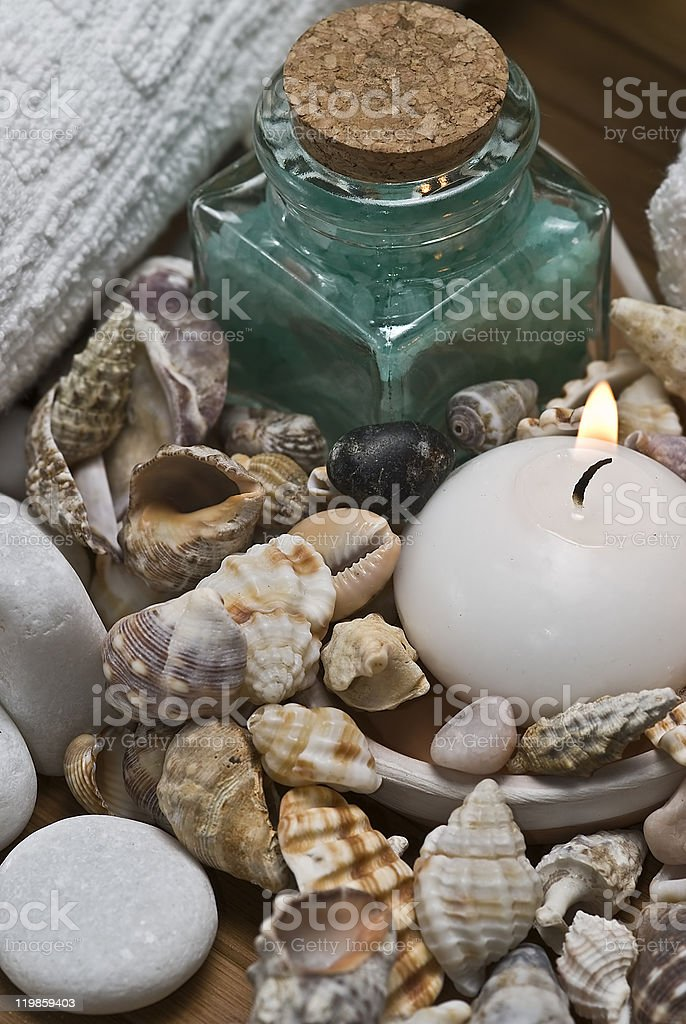 Spa background with seashells. royalty-free stock photo