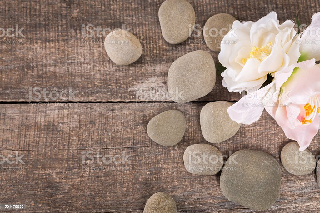spa background with zen stones stock photo