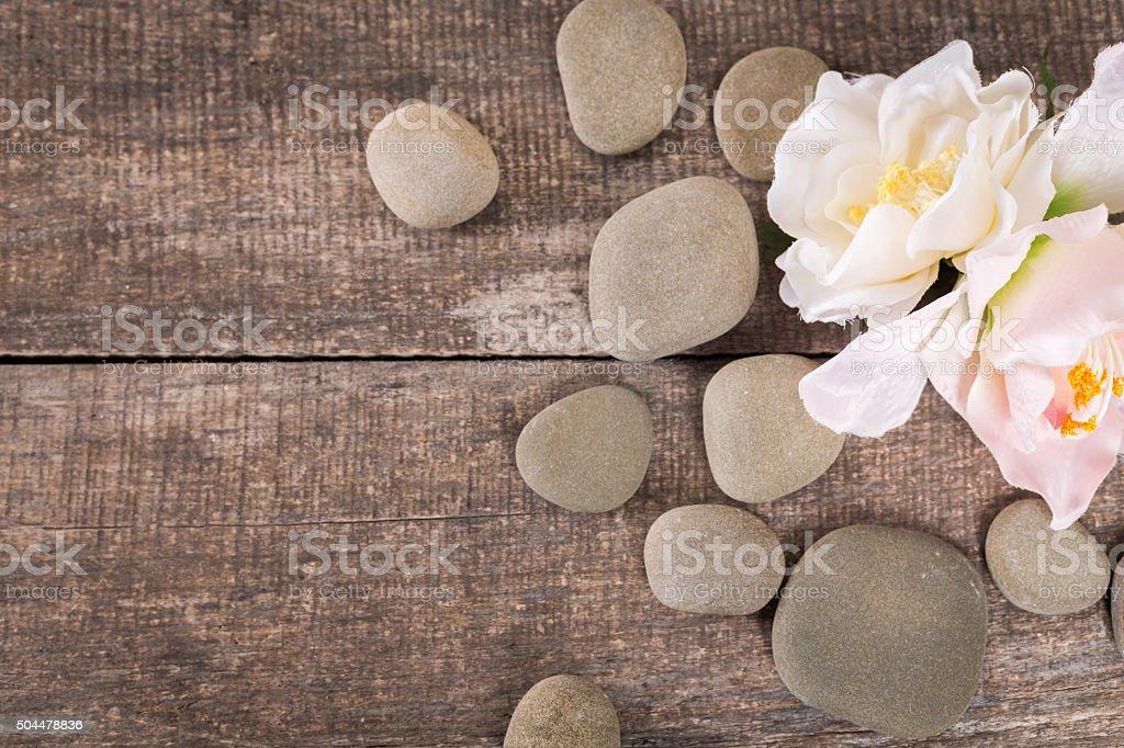 spa background with zen stones stock photo