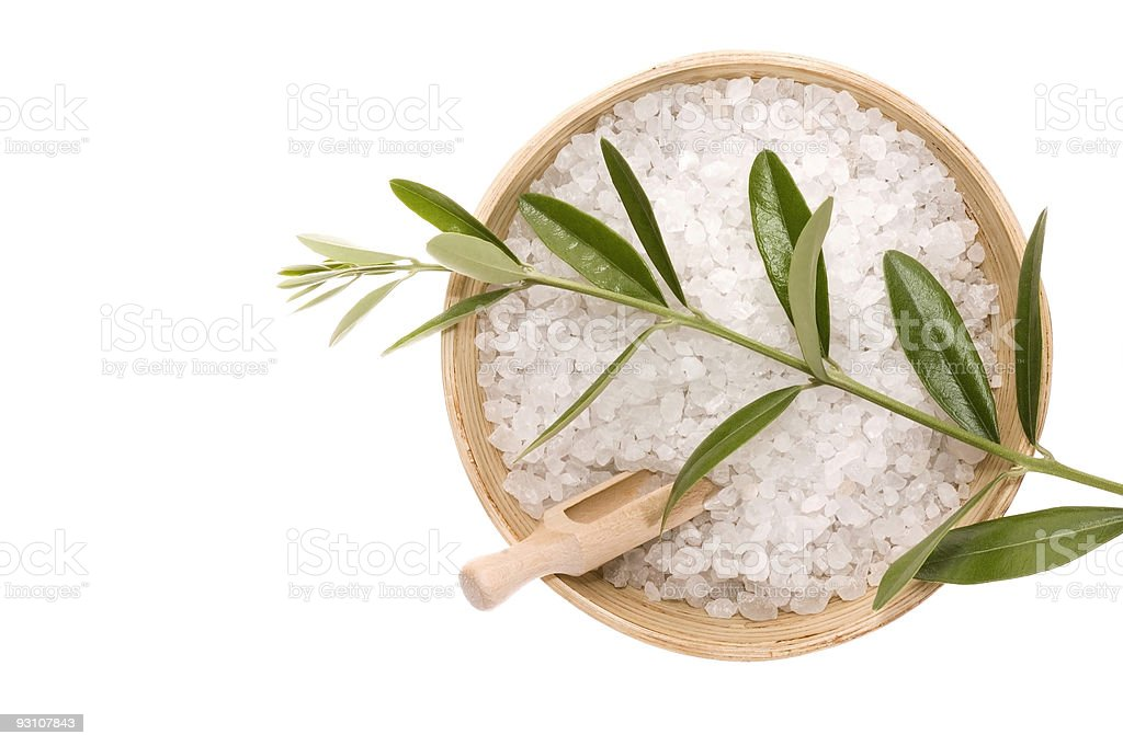 spa. bath salt and olive branch royalty-free stock photo