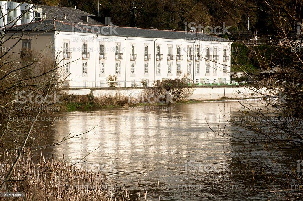 Spa by river Miño in Lugo, Galicia, Spain stock photo