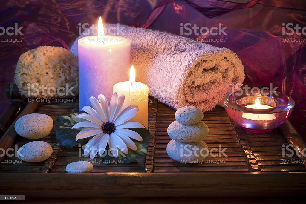 Spa candle stones sponge royalty-free stock photo