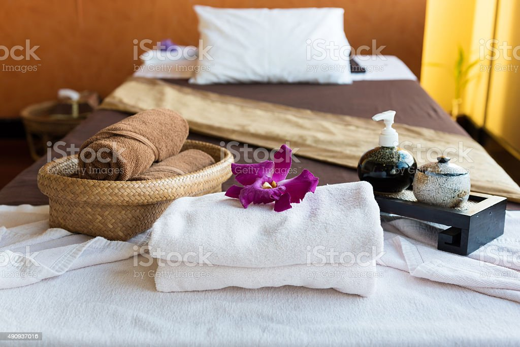 Spa complementary package,on top of the bad stock photo