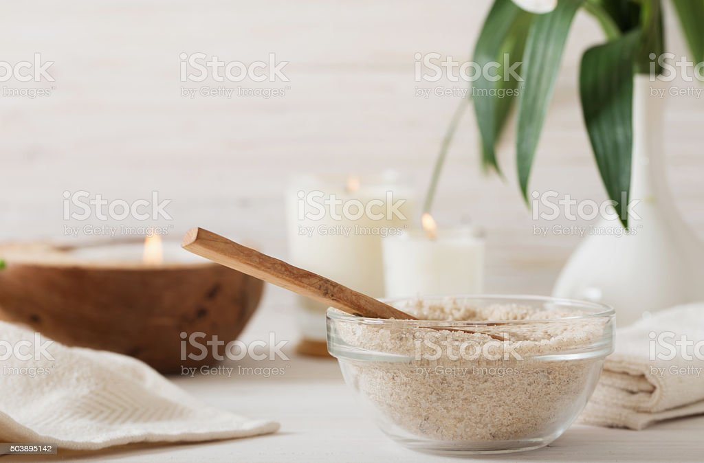 spa composition on white wooden background stock photo