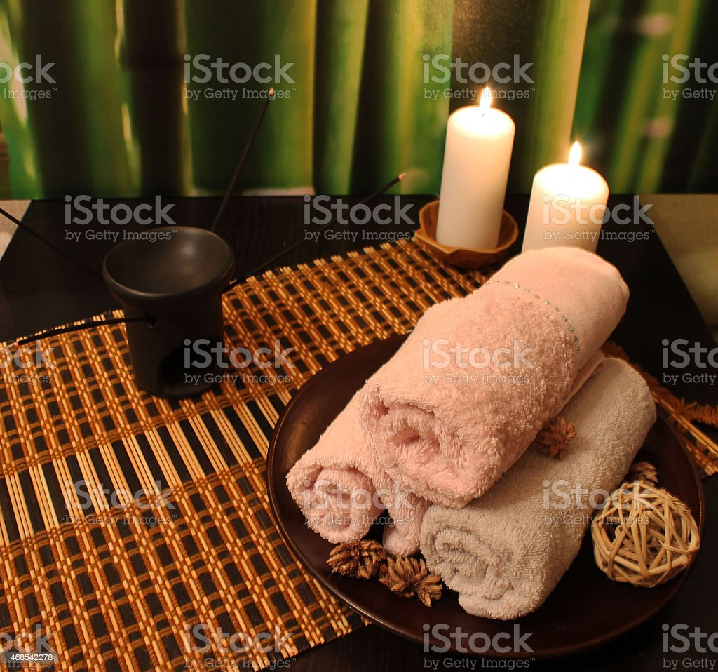 Spa composition with candles stock photo