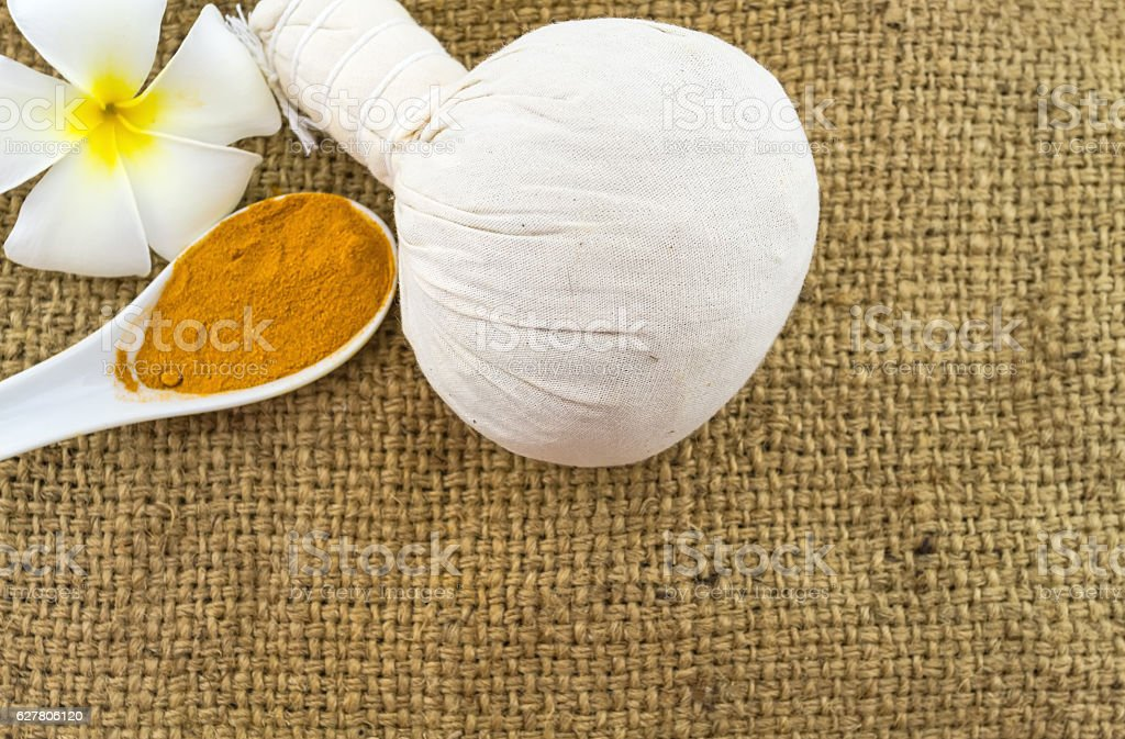 Spa concept on sack fabric background stock photo