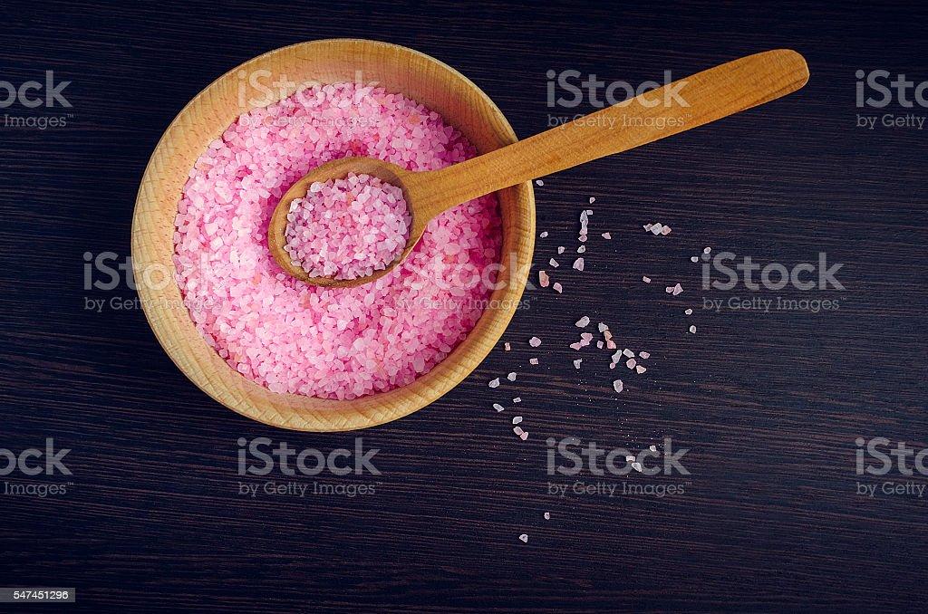 Spa concept - sea salt in the bowl stock photo