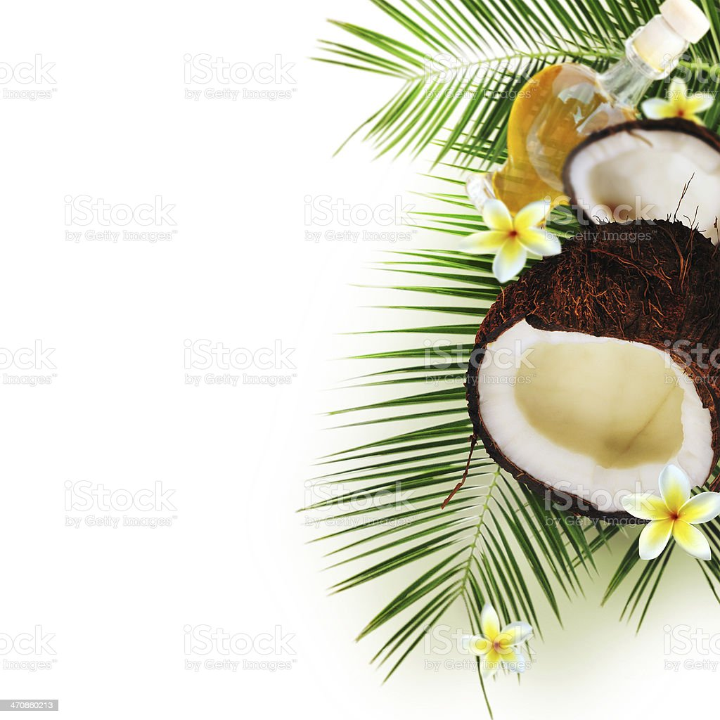 Spa concept with coconut on white. stock photo