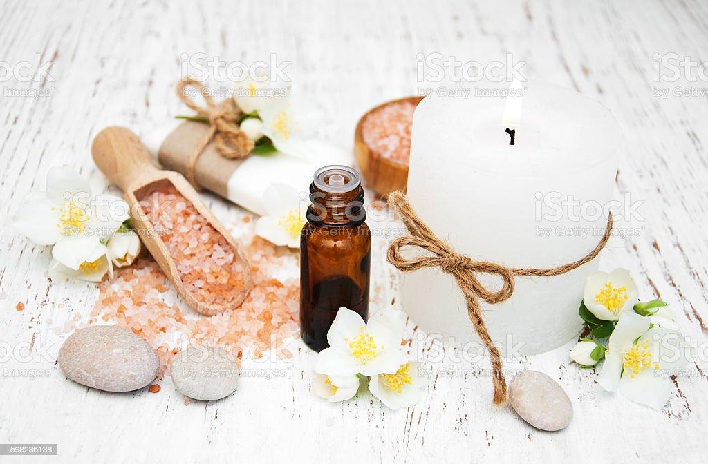 Spa concept with jasmine flowers stock photo