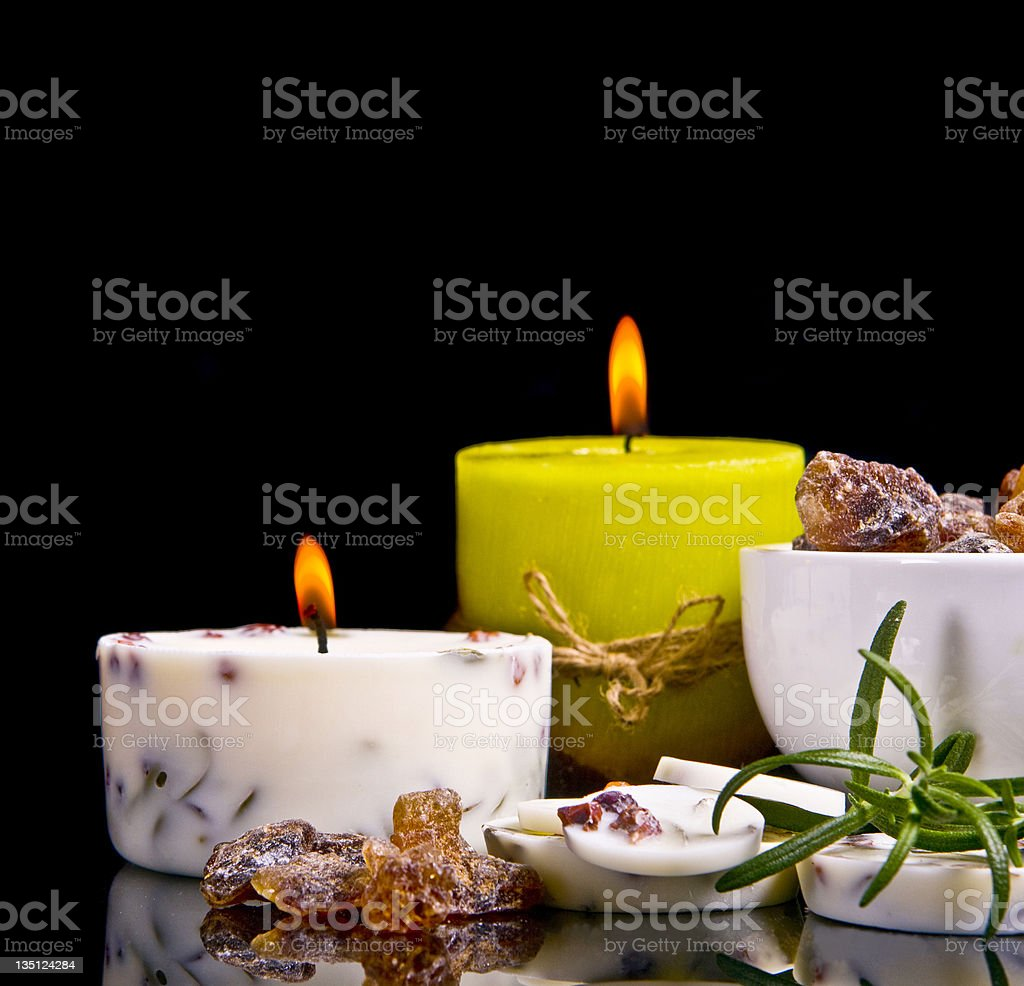 Spa concept with rosemary in black royalty-free stock photo