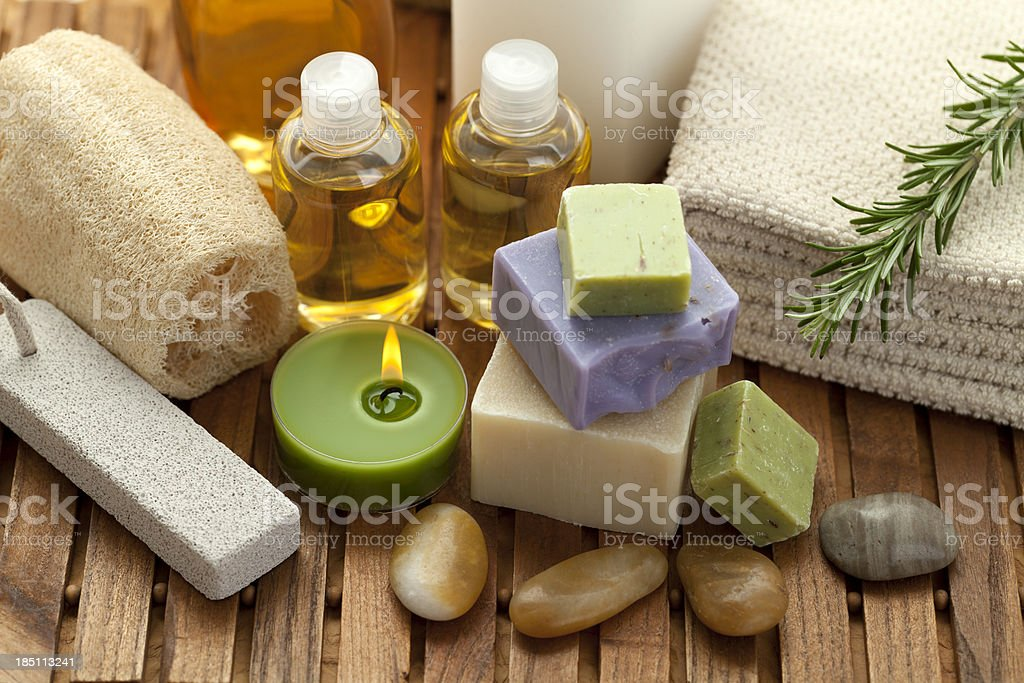 Spa concept with soap, rosemary royalty-free stock photo