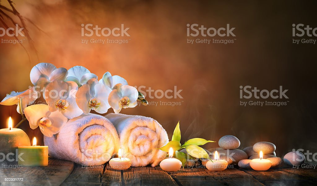 Spa - Couple Towels With Candles And Orchid stock photo