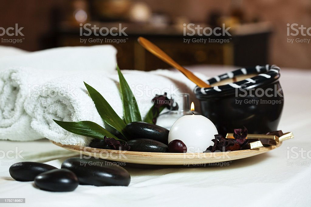 Spa decoration in massage room royalty-free stock photo