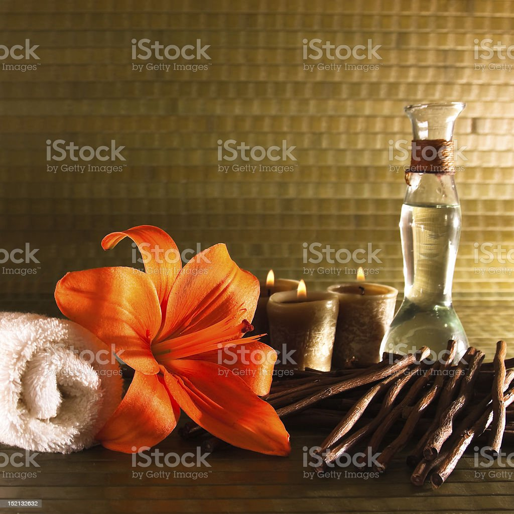 Spa elements with lilies royalty-free stock photo