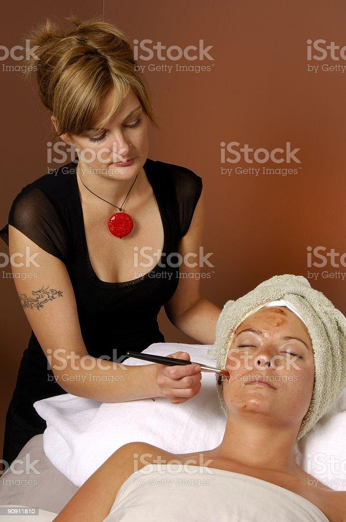 Spa Facial Masque Application By Esthetician royalty-free stock photo