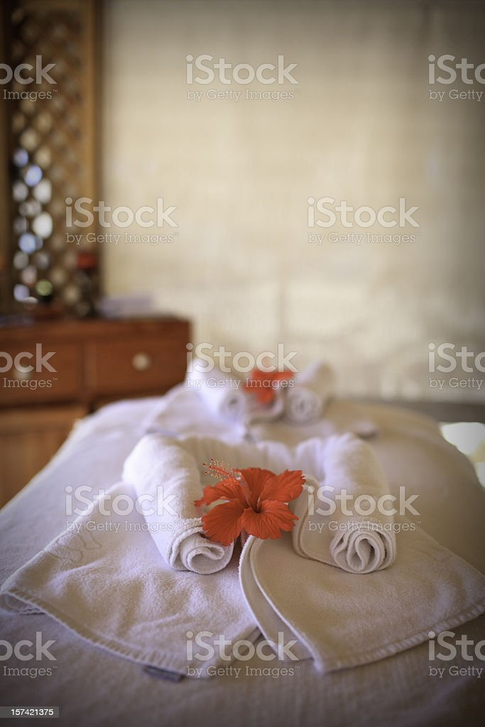 Spa Flowers - Massage Table royalty-free stock photo