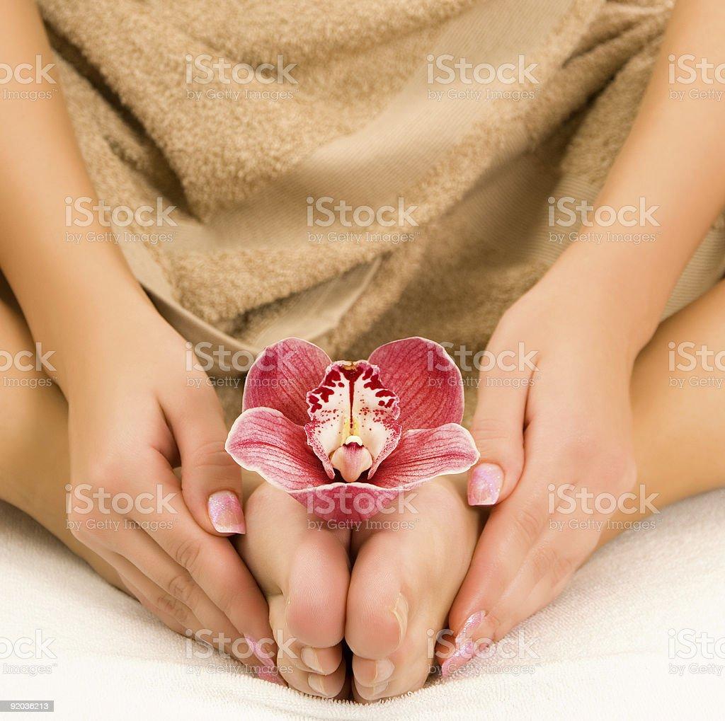 Spa foot treatment royalty-free stock photo