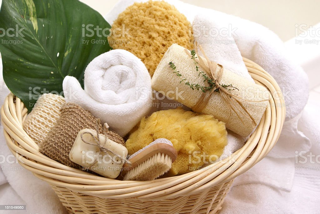 spa fresh gift basket royalty-free stock photo