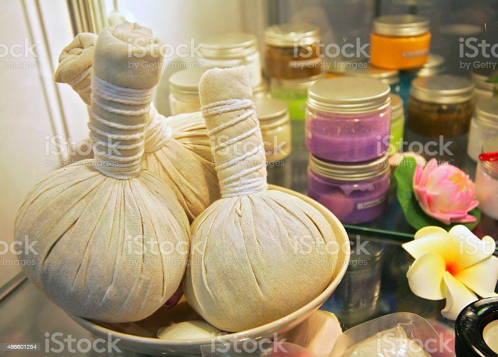 Spa herbal compressing balls stock photo
