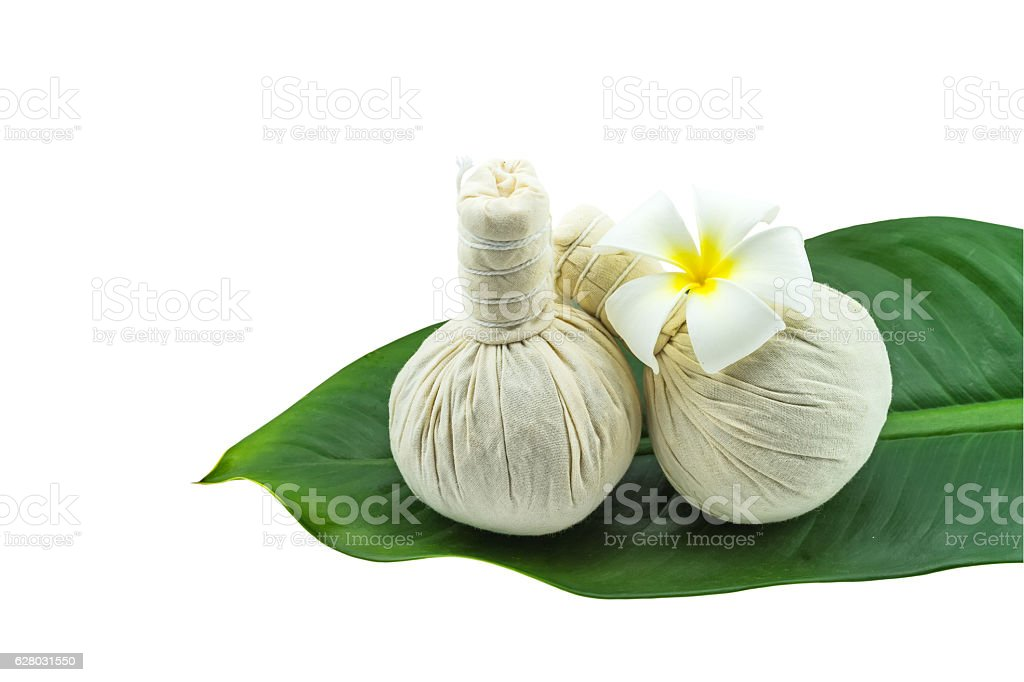 Spa herbal concept on white background. stock photo